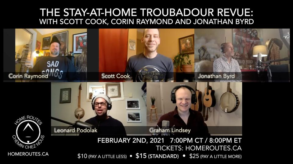 Home Routes Online presents: The Troubadour Revue, Live Interview 7PM CT
